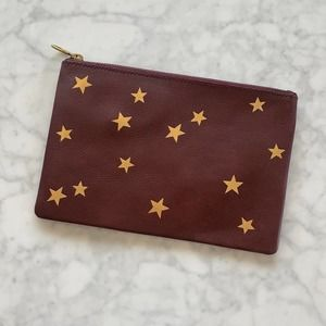Madewell The Leather Pouch Clutch with Gold Stars